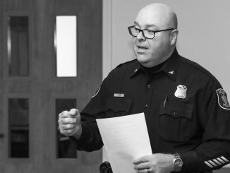 Saline Police Chief Jerrod Hart speaking to local Chamber of Commerce