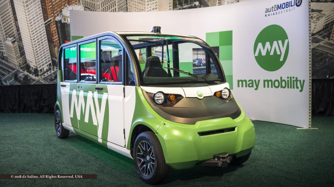 May Mobility shuttle at 2018 North American International Auto Show, in autöMobili-D space – Cobo Center, Detroit Michigan