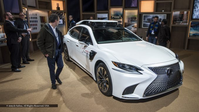 Lexus 500h with fourth-generation automated driving platform on display during first day of media previews at 2019 North American International Auto Show