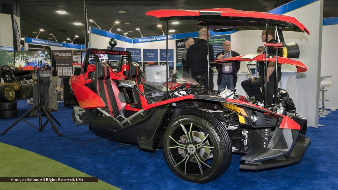 Polaris Slingshot displayed in Washtenaw Community College booth at NAIAS 2019